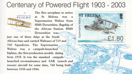 2003 St Helena Powered Flight Aviation Planes Complete Set Of 1 Souvenir Sheet MNH - Saint Helena Island