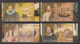 2005 St Helena Elizabethan Era Ships Shakespeare Explorers Complete Set Of 4 Pairs MNH - Saint Helena Island