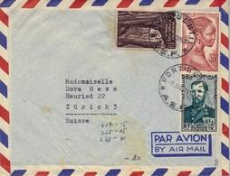 1953 , A.E.F. , AFRICA EQUATORIALE FRANÇAISE , PORT GENTIL - ZÜRICH - Cartas