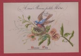 9AL1276  MIGNONETTE BONNE ANNEE CelluloÏde Peinte à La Main 1897 2 SCANS - Holidays & Celebrations