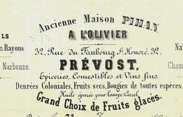 1864  Paris A L'OLIVIER PREVOST Rue Faub. St Honoré Miels Fruits Glacés  => Mme La Comtesse De Nicolai V. SCANS - France