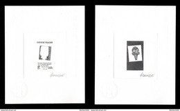 Polynesie Taxe 2, Deux épreuves D'artiste De Décomposition, Signé. Polynesia Artist Signed Proofs. 2 SCANS Mask, Masque - Polinesia Francese