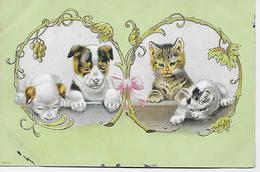 CPA - Belle Image De Bébés Chiens Et Chats, Carte Postale En Relief. - Cani
