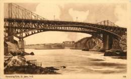 Sepia Illustrated Postcard     Reversing Falls  St John N.B.  # 155  Unused - Bridge - 1903-1954 Reyes