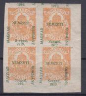 Hungary Szegedin Szeged 1919 Mi#1 Mint Hinged Piece Of Four, Moved Overprint - Szeged