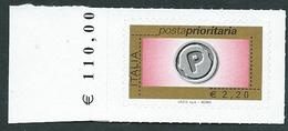 Italia 2008; Posta Prioritaria Senza Millesimo Da € 2,20 ; Bordo Sinistro Con Il Prezzo Del Foglio. - 6. 1946-.. Repubblica