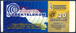 RARE UZBEKISTAN 20 UNITS UZBEKTELEKOM PHONECARD TELECARTE TASHKENT TOWN TOSHKENT TAKSOFONI - Uzbekistan