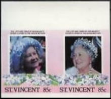 ST.VINCENT 1985. Queen Mother Birthday 85c IMPERF.se-tenant MARG.PAIR - St.Vincent (1979-...)