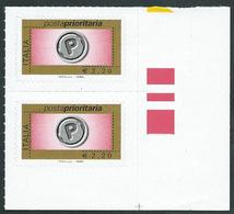Italia 2008; Posta Prioritaria Senza Millesimo Da € 2,20 ; Coppia Di Angolo Inferiore Destro. - 6. 1946-.. Repubblica
