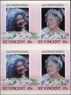 ST.VINCENT 1985. Queen Mother Birthday 85c IMPERF.se-tenant 4-BLOCK - St.Vincent (1979-...)