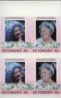 ST.VINCENT 1985. Queen Mother Birthday 85c MARG.IMPERF.se-tenant 4-BLOCK - St.Vincent (1979-...)
