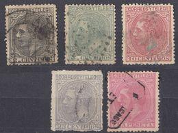 ESPAÑA - SPAGNA - SPAIN - ESPAGNE- 1879 - Lotto Di 5 Valori Usati: Yvert 183/185, 187 E 190. - 1875-1882 Royaume: Alphonse XII