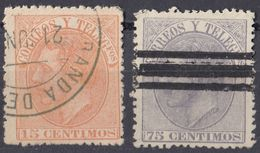 ESPAÑA - SPAGNA - SPAIN - ESPAGNE- 1882 - Lotto Di 2 Valori Usati: Yvert 193 E 195. - 1875-1882 Regno: Alfonso XII