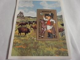 Miniature Sheet Perf Cattle Farming - Mongolia
