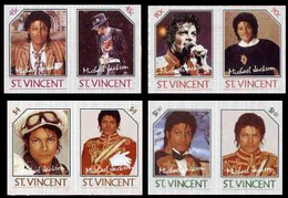 ST.VINCENT 1985 American Singer Songwriter Michael Joseph Jackson IMPERF.s-t. PAIRS:4 (8 Stamps) - St.Vincent (1979-...)