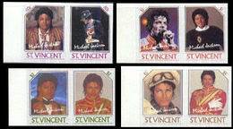ST.VINCENT 1985 American Singer Songwriter Michael Joseph Jackson MA.IMPERF.s-t. PAIRS:4 (8 Stamps) - St.Vincent (1979-...)