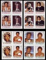 ST.VINCENT 1985 American Singer Songwriter Michael Joseph Jackson IMPERF.s-t.4-BLOCKS:4 (16 Stamps - St.Vincent (1979-...)