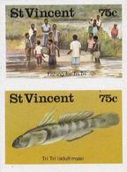 ST.VINCENT 1986 Fish Fishing 75c IMPERF.se-tenant PAIR - St.Vincent (1979-...)