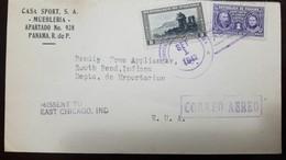 O) 1942 PANAMA, PIERRE AND MARIE CURIE SC RA10 1b, GATE OF GLORY PORTOBELO 8b, CASA SPORT S.A. AIRMAIL TO USA - Panama