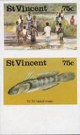 ST.VINCENT 1986 Fish Fishing 75c MARG.IMPERF.se-tenant PAIR - St.Vincent (1979-...)