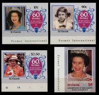 ST VINCENT 1986 QII 60th Birthday Ser.I MARG.IMPERF.SET:4 Stamps - St.Vincent (1979-...)