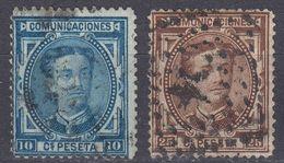 ESPAÑA - SPAGNA - SPAIN - ESPAGNE- 1876 - Lotto Di 2 Valori Usati: Yvert 164 E 166. - 1875-1882 Regno: Alfonso XII
