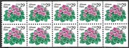 US  1993   Sc#2486a   29c  African Violets Booklet Pane Of 10  MNH - Estados Unidos
