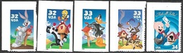 US  1997-2001   Bugs, Tweedy-Sylvester, Daffy, Roadrunner-Wylie Coyote, Porky Pig Loony Tunes Adhesive Stamps Face $1.64 - Estados Unidos