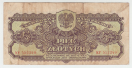 Poland 5 Zlotych 1944 VG+ Banknote WWII Pick 108 - Poland