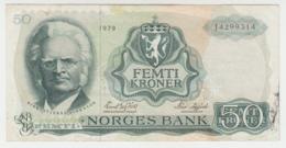 Norway 50 Kroner 1979 VF Pick 37d  37 D - Norvegia