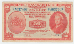 Netherlands-Indies 50 Cents 1943 VF+ Pick 110a 110 A - Dutch East Indies