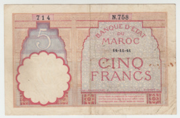 Morocco 5 Francs 14-11- 1941 VG+ Pick 23Ab 23A B - Morocco