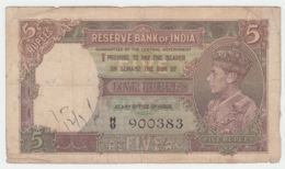 India 5 Rupees 1937 VG Pick 18a  18 A - India