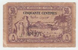 TUNISIA 50 CENTIMES 1943 G-VG PICK 54 - Tusesië