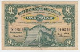Gibraltar 1 Pound 1942 VF Pick 15b - Gibraltar