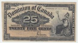 CANADA 25 CENTS 1900 VF Pick 9c 9 C (Signature Saunders) - Canada