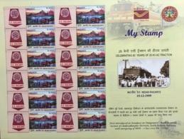 Indian Railways 25 KV AC Traction, Energy, Train, Elephant, Transport, Etc, My Stamp 2019 Full Sheet - Eisenbahnen