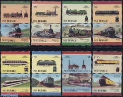 Tuvalu 1987 Locomotives 8x2v [:] (Nui), (Mint NH), Transport - Railways - Trains