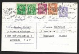 Entier Type Iris Avec Complement D'affranchissement-Cachet De Fougères Ille Et Vilaine - 1921-1960: Modern Period
