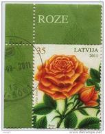 Latvia  - ROSE  - Flower  2011 Y  ROSES  - USED Stamp (o) + !!! CORNER , BORDER !!! VARIANT -2 - Latvia