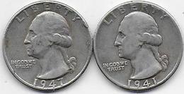 Etats Unis - 2 Quarters  1941 Et 1947 - 1932-1998: Washington