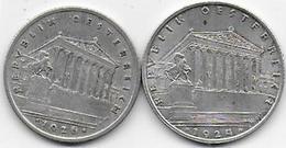 Autriche - Schilling - 2 Pièces  1924 Et 1926 - Austria