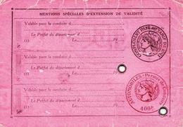"""Fiscaux, Permis De Conduire Les Automobiles 1951, Avec Fiscal """"400 F + Complément"""" Toulouse - Fiscaux"""