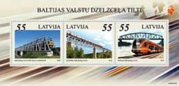 Latvia 2012 Bridges And Train Of Baltic States  - Joint Issue Estonia, Lithuania S/S MNH - Latvia