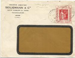 PAIX 50C PERFORE S PORTE TIMBRE ENVELOPPE A FENETRE IMPRIME SEILIGMANN VAUCOULEURS MEUSE DOCTEUR ALBERT 1934 RARE - 1932-39 Paix