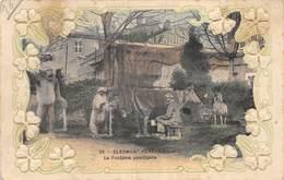 PIE.LOT CH -19-4417 : CLERMONT-FERRAND. CARTE GAUFFREE AVEC TREFLES. FONTAINE PETRIFIANTE. - Clermont Ferrand