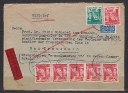 Frz.Zone Rheinland-Pfalz Eilbrief Speyer/17.3.49 MiF 18 + 6x20 ( 2 Einzelwerte,4er-Str Hier 1x Type II) + NOB , Rs.Ak-o - French Zone