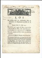 LOI  Qui Déclare Nulle Une Adjudication Faite Au Directoire Du Département Du CHER Et Du LOIR - Imprimerie ROYALE  1791 - Décrets & Lois
