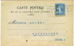 SEMEUSE PERFOREE SUR CARTE COMMERCIALE HLS LIBRAIRIE H LE SOUDIER PARIS - Marcophilie (Lettres)