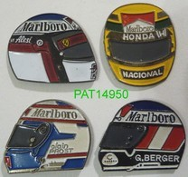F1 91 ALESI SENNA PROST BERGER CASQUE Sponsor MARLBORO Lot De 4 Pin's Avec Attaches - F1